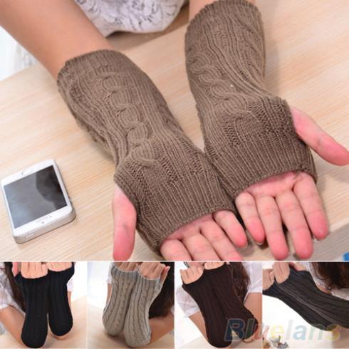 Women s Men s Long Knitted Crochet Fingerless Braided Arm Warmer Gloves 1T58