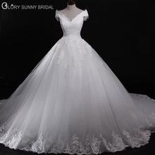 2017 New Model One Shoulder with Cap Sleeve Royal Train Lace Border Plus Size wedding dress(China (Mainland))