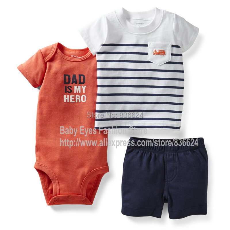 S-Fire truck Tee 3pcs set, New Carter's Baby Clothing Set Baby Romper Carters Bodysuits Bebe Boys Jumpsuits,Freeshipping(China (Mainland))