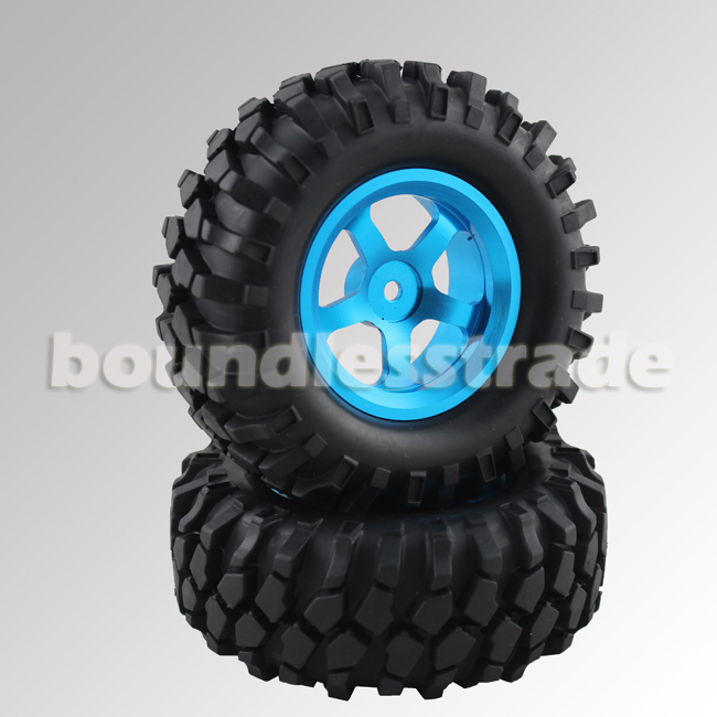 """4 Pcs/lot 4 x 1.9"""" 1/10 96mm Blue Aluminum Wheels Tires Tyre for RC Crawler Car Remote Control Accs Free shipping _SP049B-4x(China (Mainland))"""
