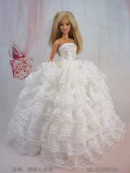 Free Shipping Fashion Clothes For Barbie Doll Dolls Party Dress Gown Skirt White Wedding Dress +First Yarn+Gloves