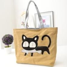 Lovely Girl s Cartoon Cat Eat Fish Shopping Shoulder Bags Canvas Women Handbag Beach Bag Tote