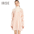 IRISIE Apparel Cold Shoulder Check Dresses Sweet Preppy Style Loose Women Vestidos Sexy Casual Soft Cami