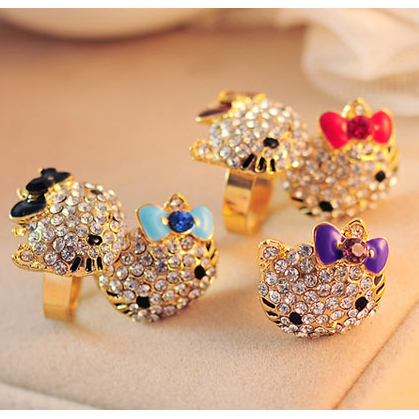 5 colors Lovely hello kitty Jewelry Crystals Lady Rings Gold Plated Resizable Fashion Party Child Girls rings Gift Accessories(China (Mainland))