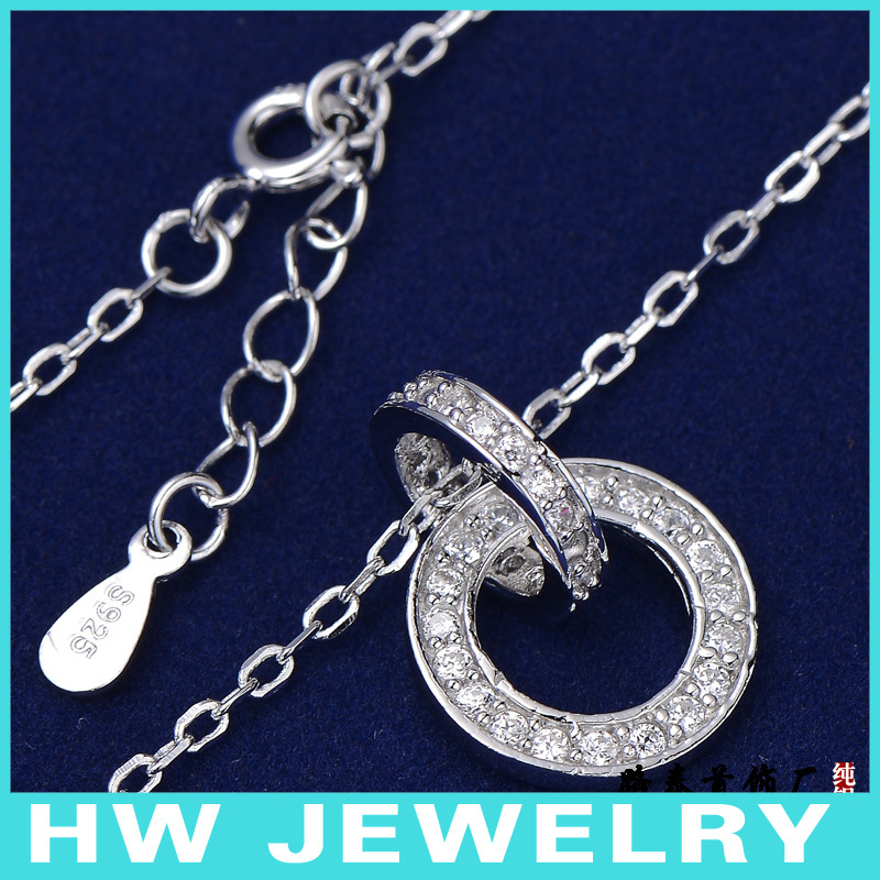 Collarbone necklaces silver micro CZ Gemstone with jewelry pendants China factory, free shipping(China (Mainland))