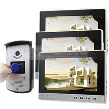 10 inch Video Door Phone Doorbell Home Security Video Intercom System RFID Camera LED Color Night Vision 1 Camera 3 monitors(China (Mainland))
