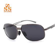 SCOBER Men's High Quality Polarized Sunglasses & Case 2016 Latest Design Exquisite Square Frame Hollow Temple UV400 Goggles.SB91