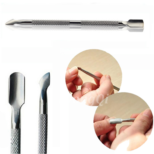Stainless Steel Cuticle Nail Pusher Spoon Remover Metal Nail Cleaner Manicure Pedicure Care Tool(China (Mainland))