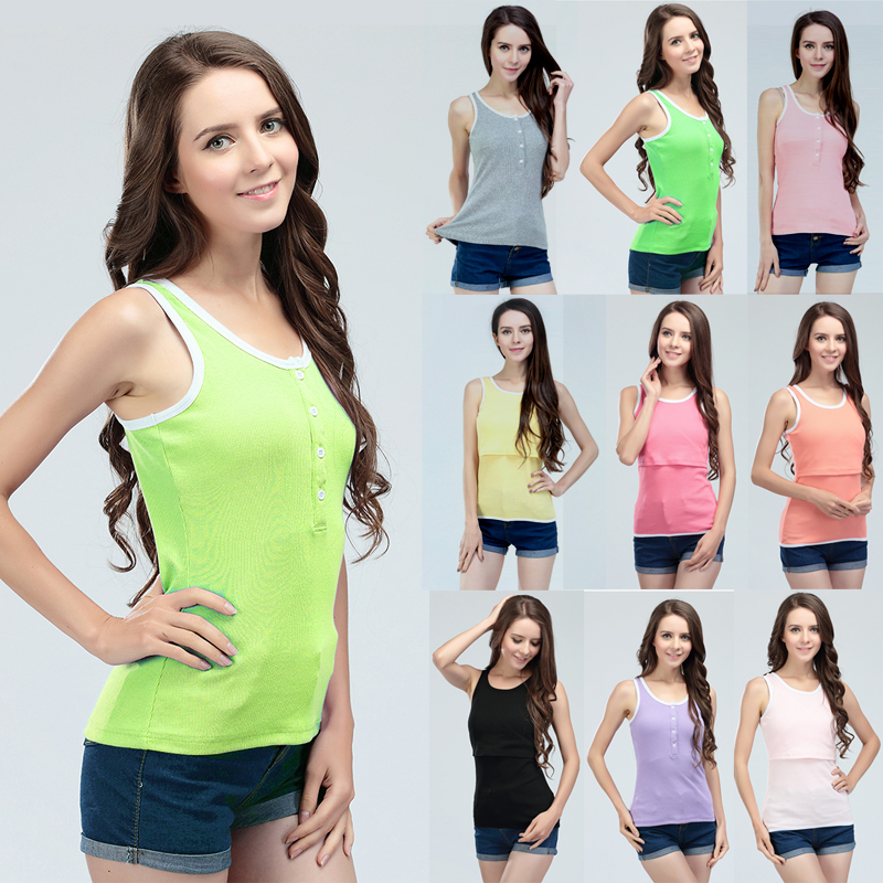 2015 Hot wholesale!New Striped Patchwork Sleeveless Maternity tops Breastfeeding Clothes Nursing Tops 8 Colors(Hong Kong)