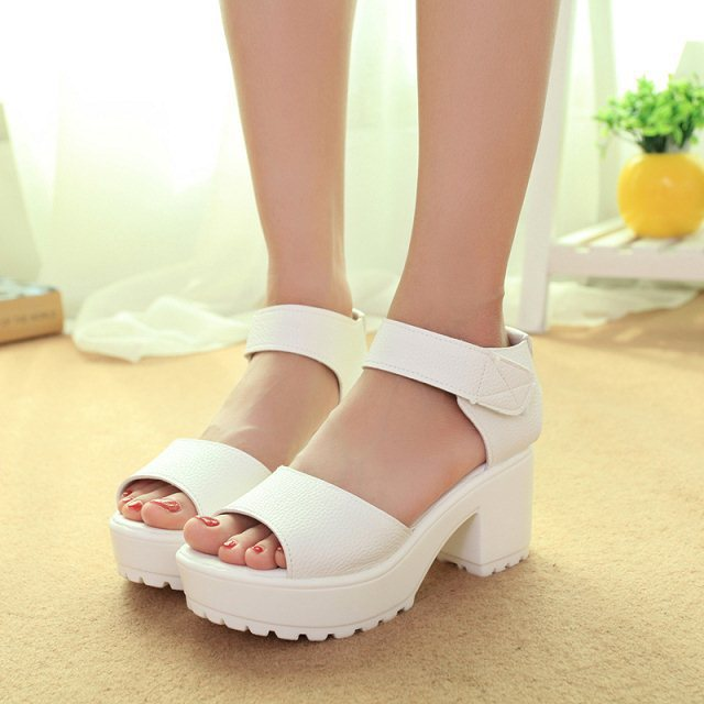 2015 New Summer Shoes Sandals Fish head high heels Solid Muffin Sandals Women platforms shoes for lady plus size 40 WXZ02A08(China (Mainland))