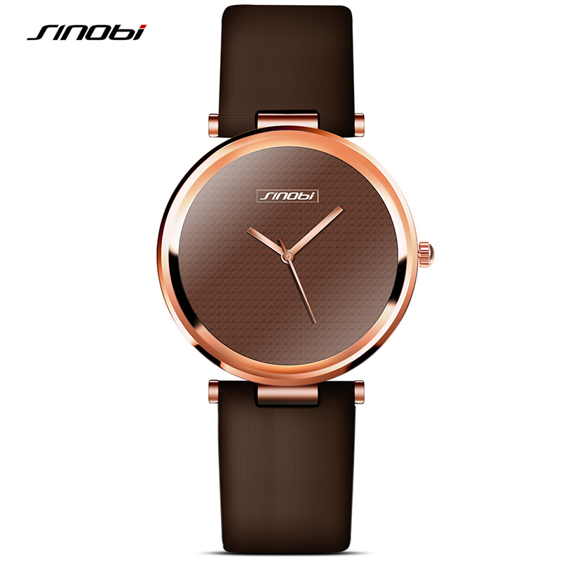 ultrathin Luxury Brand sinobi simple watch Fashion Women's Watches Ladies Leather Wristwatch Rose Gold Female dress Clock hours(China (Mainland))