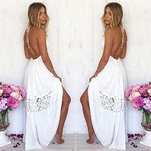 Горячих женщин белое кружево ну вечеринку летний пляж спинки лонг хобо платье платье