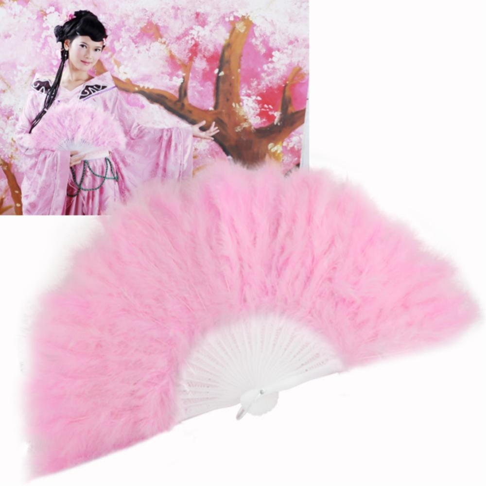 vintage wedding dance party feather hand fan light pink EN0769(China (Mainland))