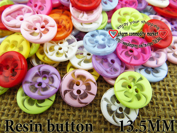 100PCS 13.5MM transparent mixed flower shape Dyed RESIN buttons coat boots sewing clothes accessories R-135-1
