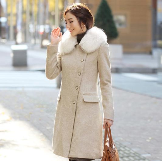 2013 Winter Slim Elegant Wool Coat Wool Woolen Outerwear Trench Slim Design Long Fashion Outerwear Wool Coat Fur Long Solid