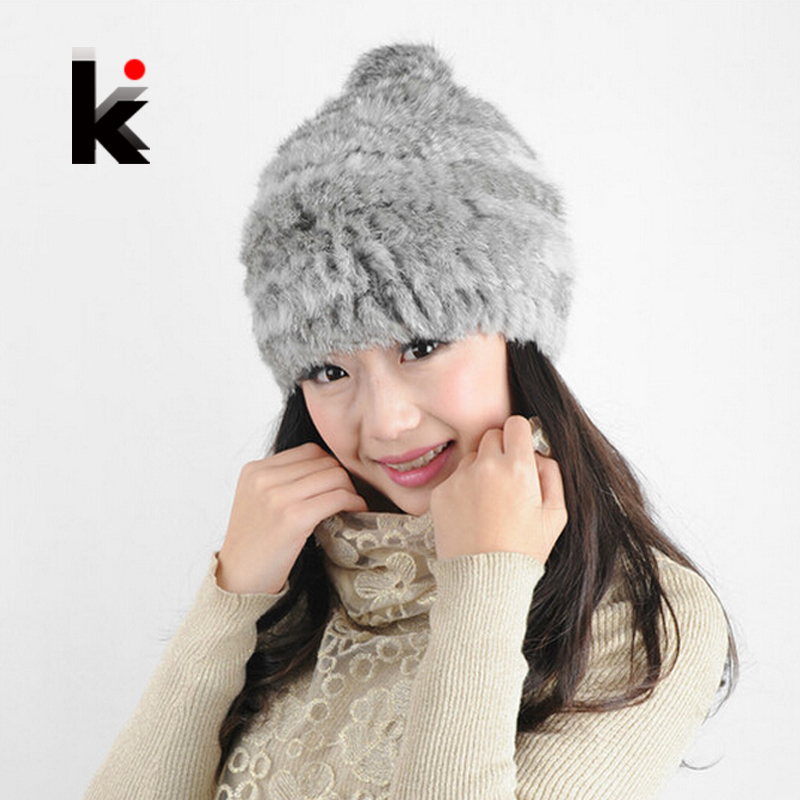 2016 Rabbit Fur Hat Trendy Women Delicate Knitted Real Fur Beanie Winter Caps Casual Cute Hats For Women Free Shoping(China (Mainland))