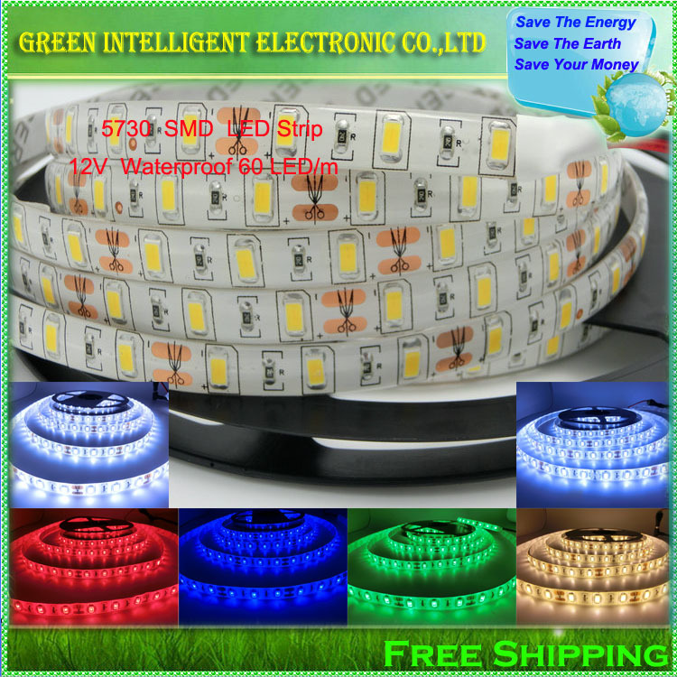 5730 SMD LED Strip,12V Waterproof IP65 60LED/m 5m/lot,Bright Than 5630/5050,White,Warm White,Cold white<br><br>Aliexpress