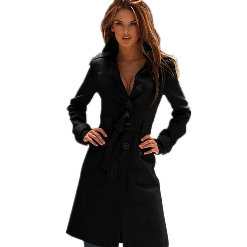 Fashion Trench Coat European Style Mujer Autumn Winter Casaco Ladies Sobretudo Feminino Long