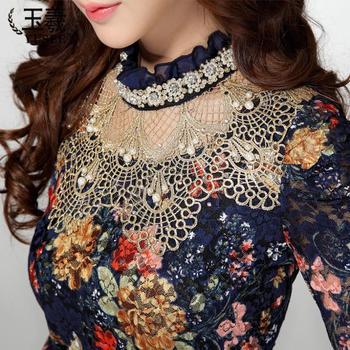 Женщины в кружево рубашка женское кружево блузы длинная - рукав полые цветочный кружево ...