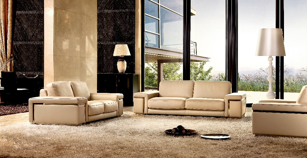 High quality cow top graded genuine leather sofa living for Latest sitting room furniture