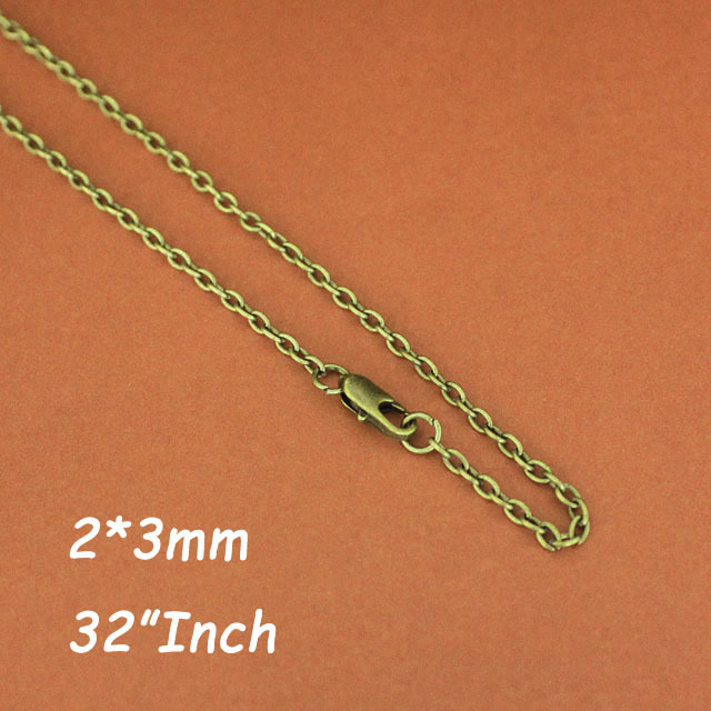 """32"""" 2mm Cable Chains Necklace Antique Bronze Plated With Square Clasps DIY Findings For Jewelry Pendants DIY Accesories(China (Mainland))"""
