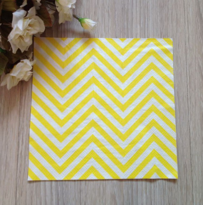 20pcs Yellow Chevron Striped Color Napkin Paper For Wedding Party Decoration(China (Mainland))