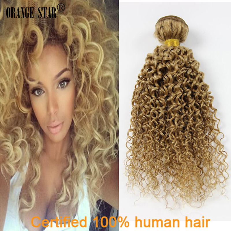 """Human Virgin Peruvian Hair Blonde Hair Weave 3 PCS 27# Blonde Kinky Curly Hair 10""""-30"""" Human Kinky Curly Braid Hair Bulk GJ311(China (Mainland))"""