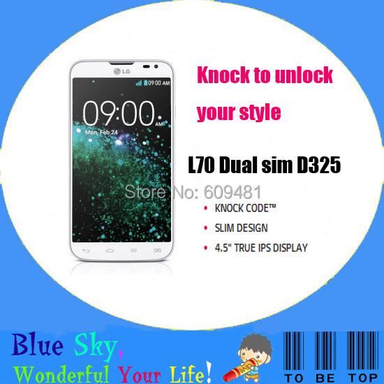 Original LG L70 dual sim D325 L70-D325 cellphone knock code dual core 1G RAM +4G ROM 5MP camera 4.5 inch IPS display(China (Mainland))