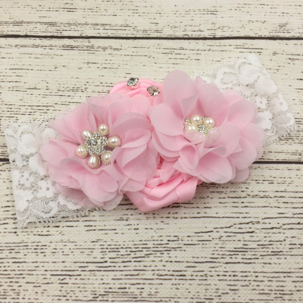 Free Shipping Double Chiffon Flower &amp; Satin Flower With Sparking Rhinestone Lace baby girls floral headbands hairband <br><br>Aliexpress