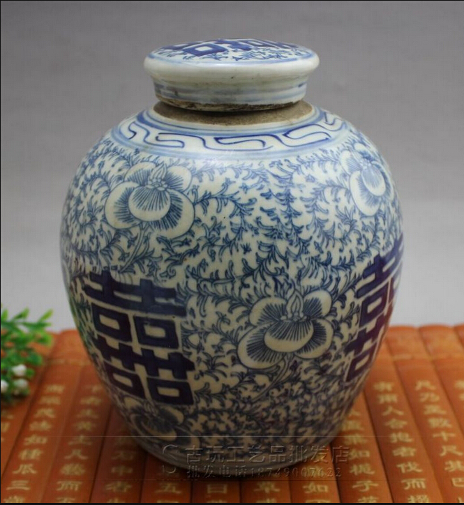 Antique hand-painted blue and white porcelain jar living room furnishing free postage Double Happiness(China (Mainland))