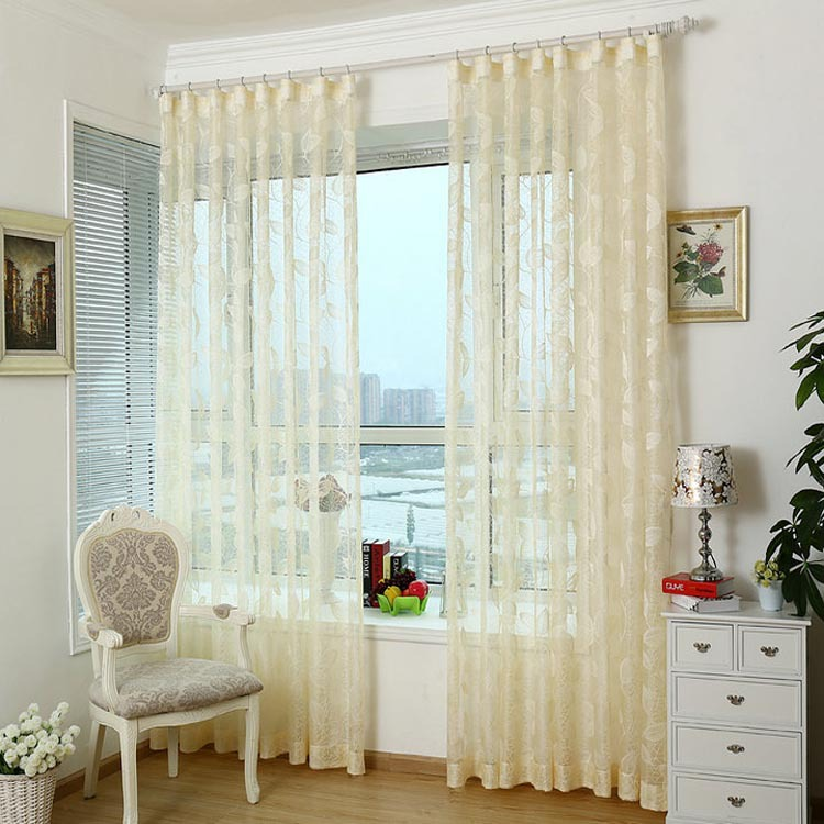 Semi Shade Knitted Fabric Girls Elegent Tulle Lace Window
