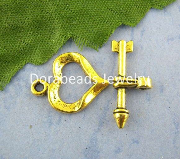 Free Shipping! 30Sets Gold Plated Cupid Arrow Heart Toggle Clasps 13*16mm (B01038)(China (Mainland))