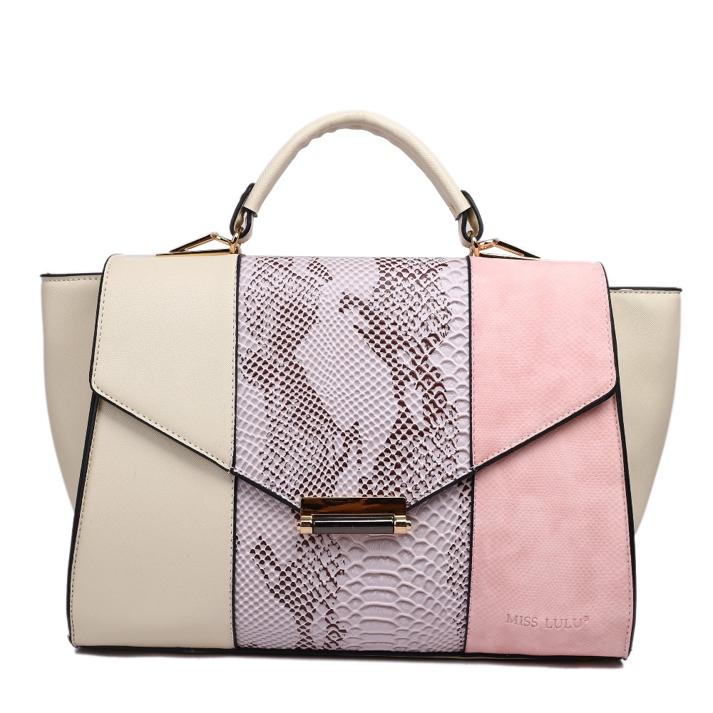 Fashionable Design Style women totes handbags  with snakeskin panel  Uses three contrasting colours in gorgeous combinations.<br><br>Aliexpress