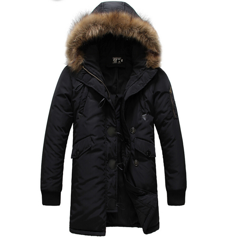 Parka men s 2016 Winter jacket men Medium long Wadded jacket large fur collar Men winter