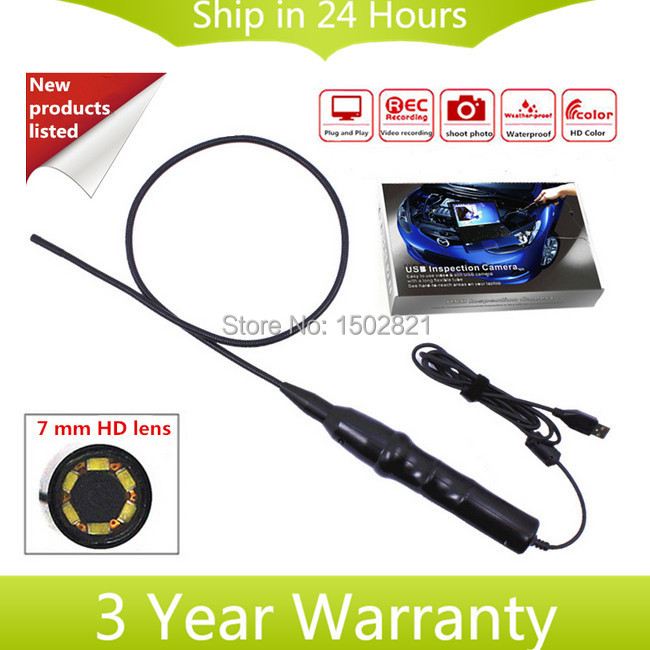 Handheld USB Video 7mm VGA CMOS 1/12 Inspection Endoscope Borescope Waterproof Camera with 800mm Flexible Tube and 6 LED Light(China (Mainland))