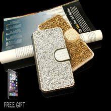 3pcs For iPhone 6 6s 6s plus 5s SE Mobile Phone Case Full Gitter Rhinestone Diamond Crystal Card Slot Leather Cover