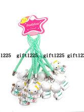 10 pcs Dos Desenhos Animados anime olá kitty cats Jingle Bells, Decoração de Natal, Artesanato DIY, cordão dos desenhos animados Sino Acessórios chave Cadeias(China)