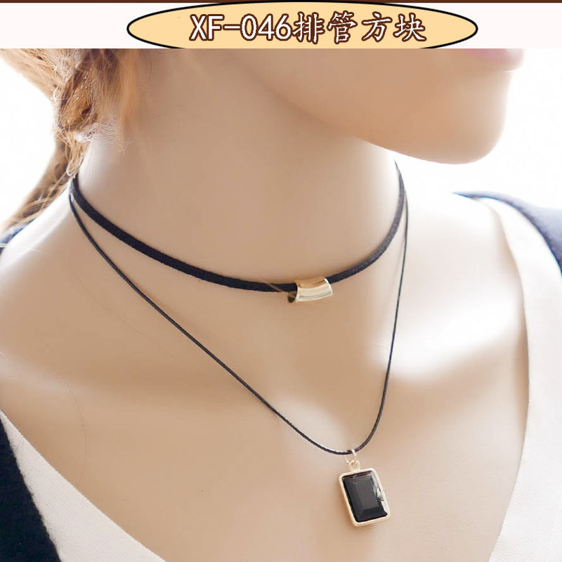 New Arrival wholesale vintage Fashion women Black ethnic Rope Gold Tube False choker Collar Necklace women collier chain maxi(China (Mainland))