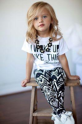 Девочки дети полоса летней одежды комплект я проснулся как этот малыш брюки 2 шт. подходит детская одежда комплект