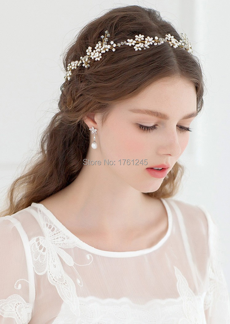 luxury gold pearl crystal bridal headband wedding hair accessories jewelry bridal bridesmaid headbands tiara free ship 26(China (Mainland))