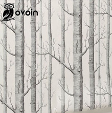 Forest Wall Mural Birch Tree pattern woods wallpaper roll modern simple wallpaper design black white wall paper for living room(China (Mainland))