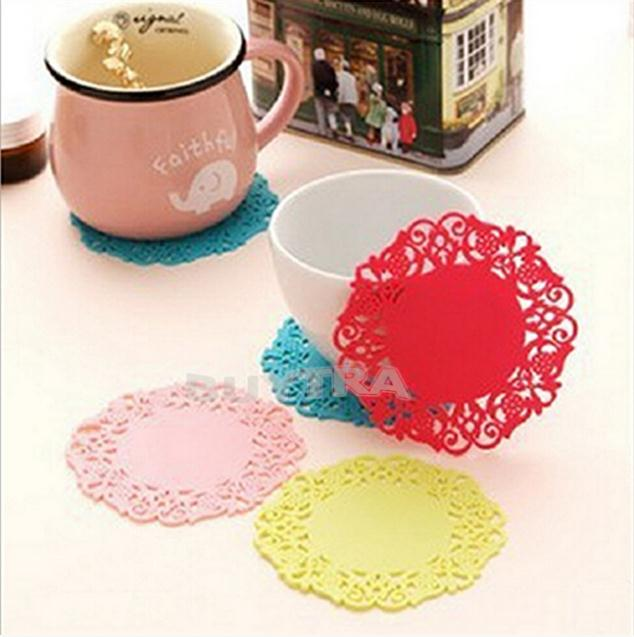 2015 Hot Sale 1 pc Lovely Silicone Lace Flower Cup Coaster Nonslip Cushion Placemat Anne Tea