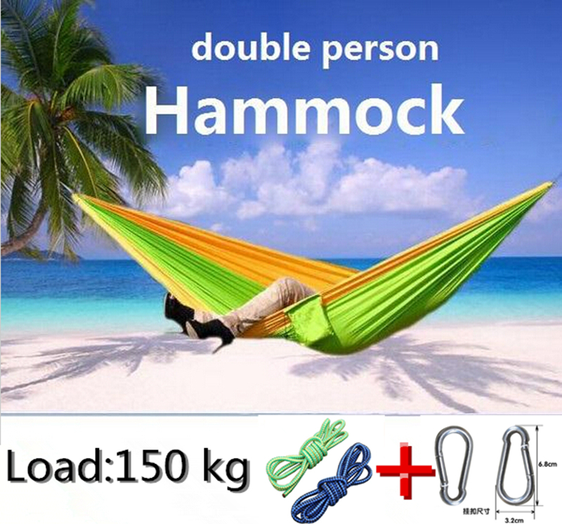 Free Shipping Outdoor Furniture Survival Hammock Parachute Cloth Double Hammock Camping Hunting Leisure Hamaca rede de dormir(China (Mainland))