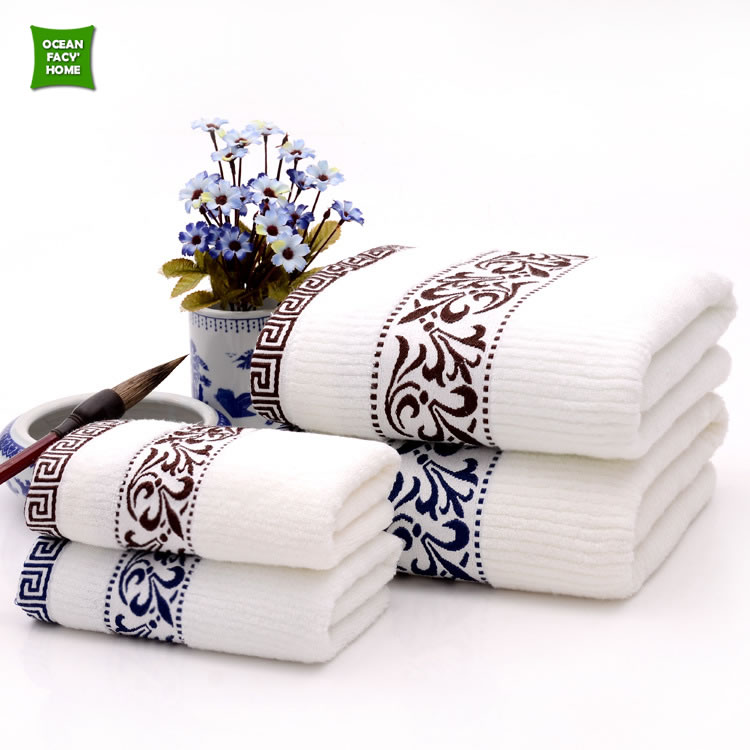 High Quality Towel Home Face Hand Bath Beach Towels For Adults Simple Design Solid Embroidered 34*73cm Luxury Towel Blue & Brown(China (Mainland))