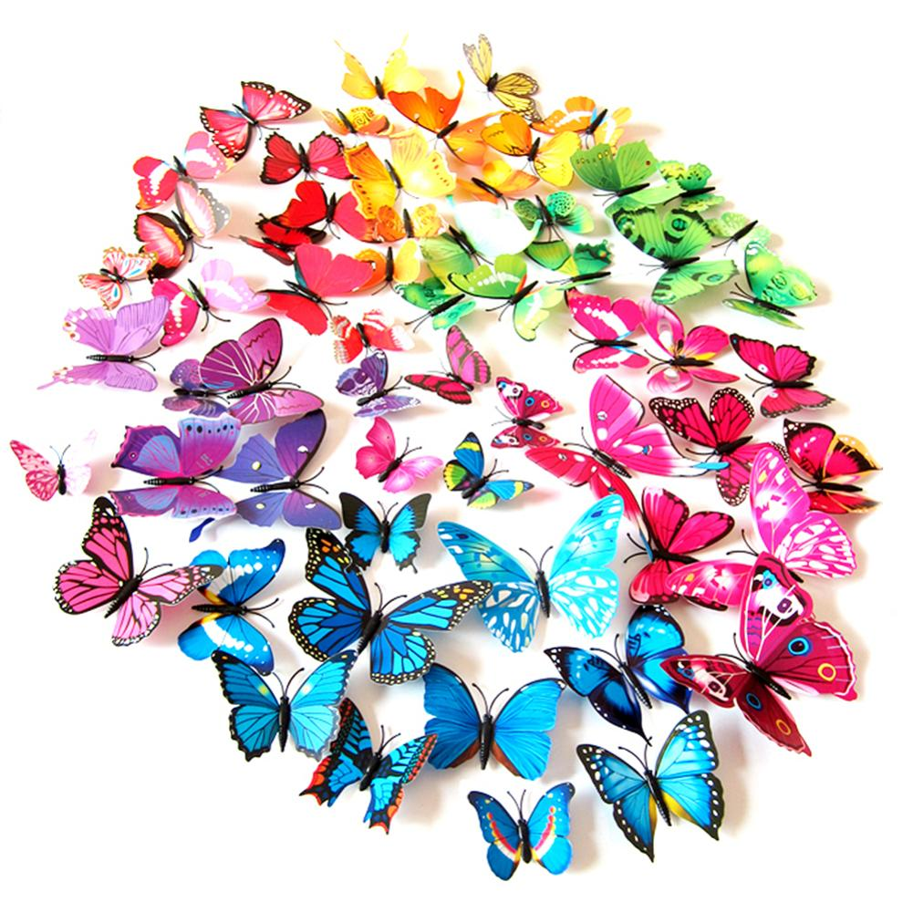 product 12 Pcs/Lot 3D Butterfly Wall Stickers Decals Home Decor Poster for Kids Rooms Adhesive to Wall Decoration EQC695