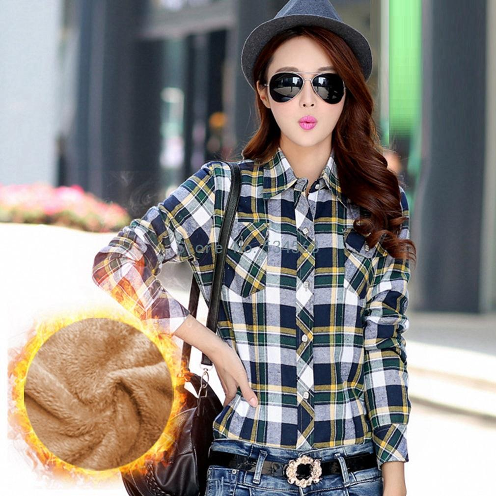 Hot Sale 2016 Spring Autumn Winter Warm Cotton Long-Sleeved Thick Velvet Women'S Plaid Shirt Flannel Office Shirts(China (Mainland))