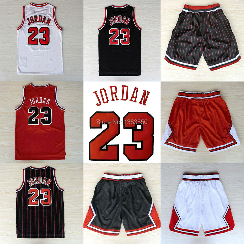 Lowest Price Chicago #23 Michael Jordan Jerseys Basketball Black White Red Stripe shorts High Quality Embroidery logos Retro(China (Mainland))