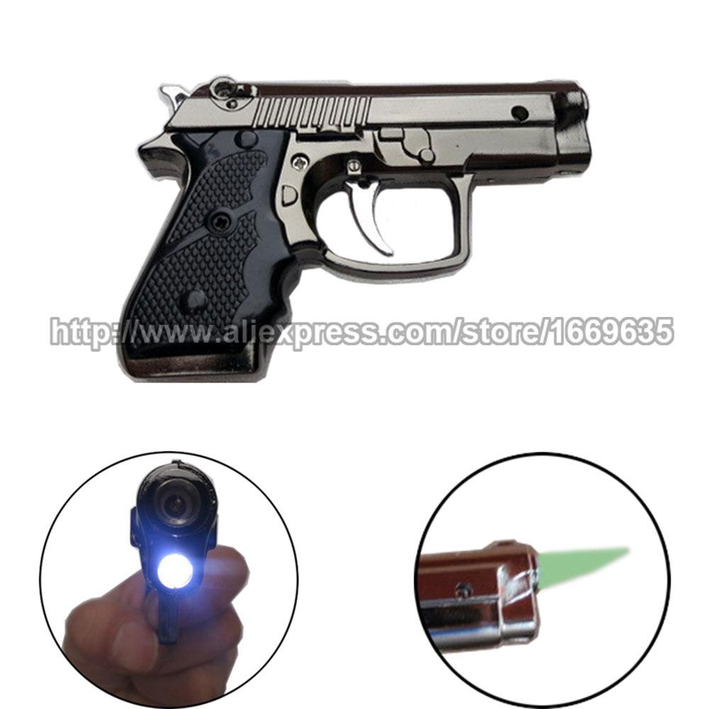 New Cool Gun Pistol Style Zinc Alloy Windproof Butane Gas Jet Torch Cigarette Cigar Lighter Refillable w/ White LED Light(China (Mainland))
