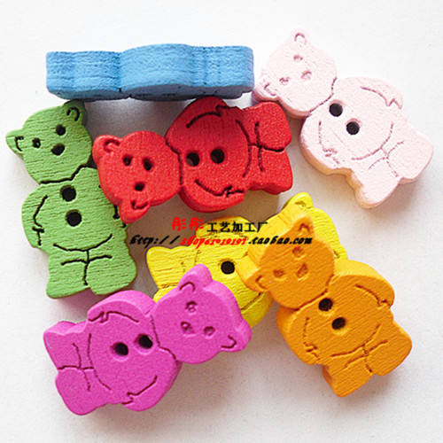 handmade Charm Diy Needs For Child Home decor Bear wooden button bulk wooden button mixed for crafts decorative buttons(China (Mainland))