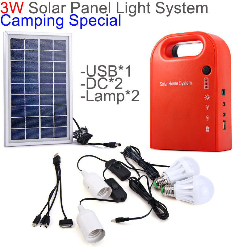 Solar Power System 3W Portable Solar Generator Home Light Solar Panel Kit USB Output for Camping/Hiking/Home Use with 2 LED Lamp(China (Mainland))